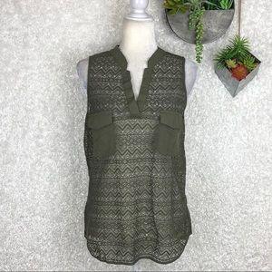 Venus Olive Green Open Knit Tank M